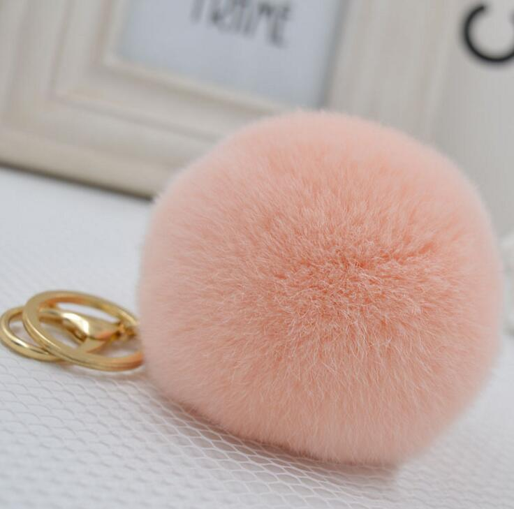 New key chain Rabbit fur ball keychain porte clef fourrure 17colors fur pom pom keychain cubre llaves fur keychain gift jewelry(China)