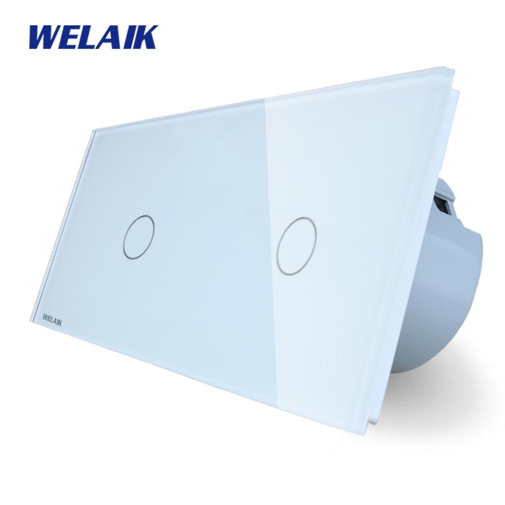 WELAIK Brand 2 Frame Crystal Glass Panel  EU Wall Switch EU Touch Switch Screen Light Switch 1gang1way AC110~250V A291111CW/B <br>