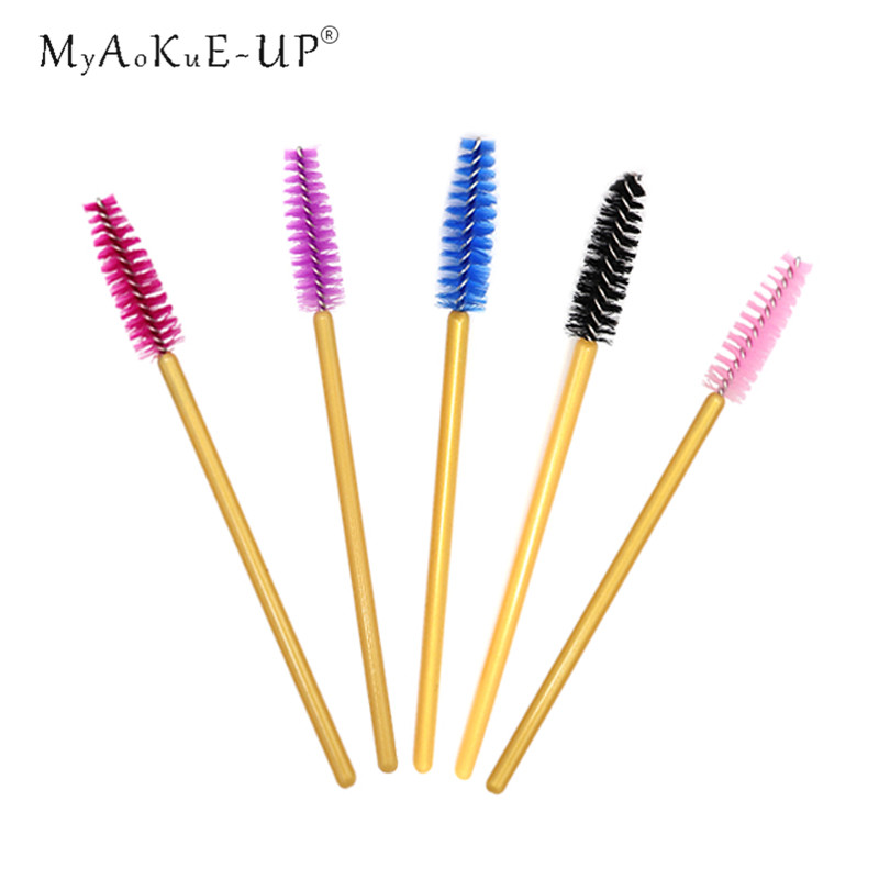 50pcs/lot Mix Golden Disposable Nylon Mascara Wands Applicators Makeup Brush Eye Lash Eyelashes Brushes Eyelash Extension (China)
