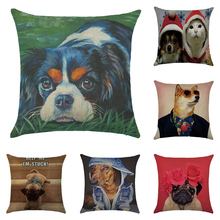 Cushion cover Dog photo album linen/cotton animal design pillow case Home decorative pillow cover seat pillow case(China)