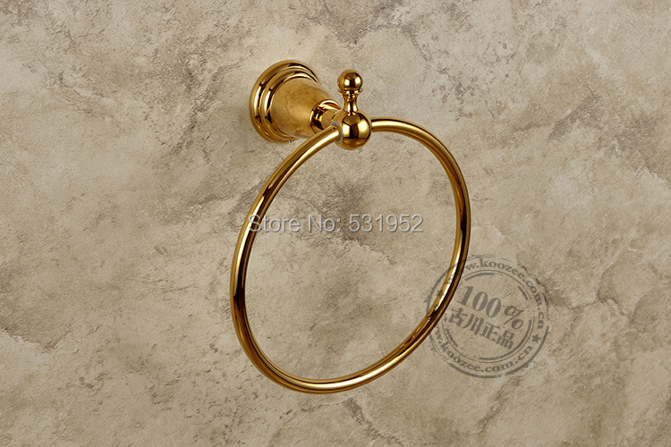 Free Shipping Antique Round Towel Ring , Gold Plate Towel Holder,Bathroom Accessories, Brass Made,North America Euro Design<br>
