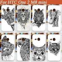 High Quality pattern diy colored black and white animal design painted cover case For HTC One 2 M8 mini Case cover free shipping