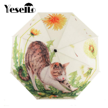 Yesello Cute Naughty Cat and Dandelion Cartoon Three Folding Umbrella 8 Rib Wind Resistant Frame For Women(China)