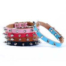 high quality pet collar PU leather rivet spike dog leather collar puppy small dog pet collar single line spiked collar dog