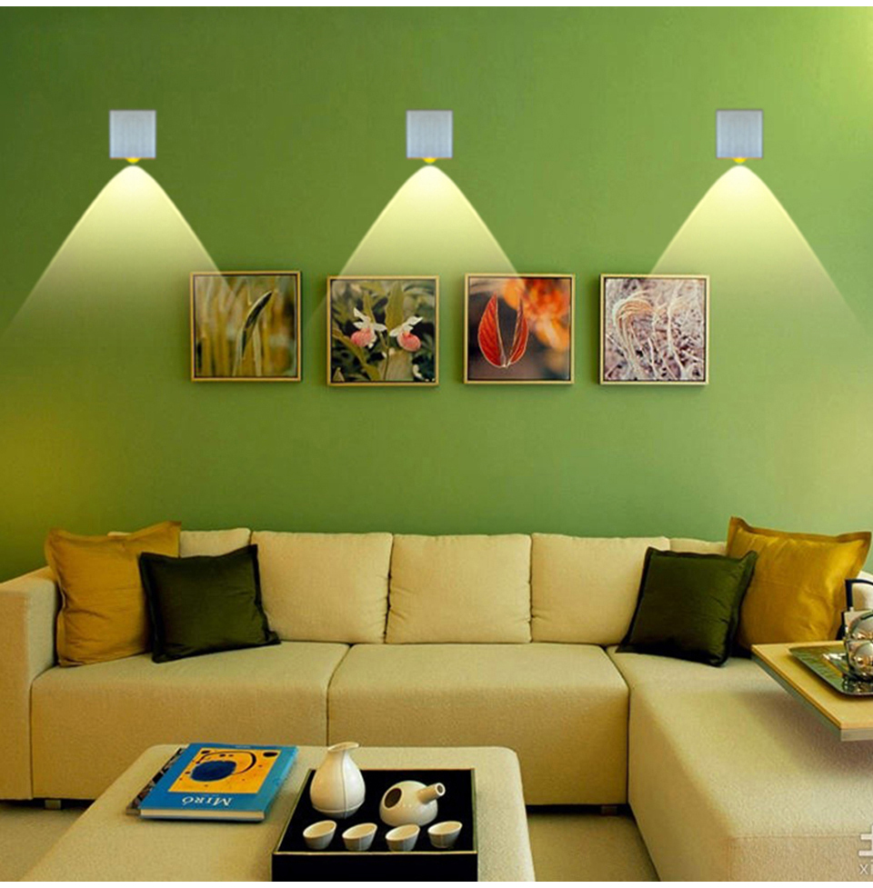 Hot Sale 2W 3W 4W LED Sconce Surface Mounted Indoor LED Wall Lamp Sliver Square Modern Wall Light Cold/Warm White/ Yellow