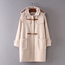 Classic Style 2017 woolen coat long loose autumn winter horns buckle woolen coat female Outwear Hooded(China)