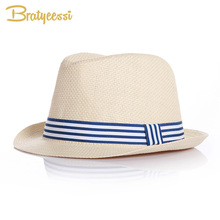 Fashion Summer Baby Hat Brief Straw Children Fedora Hats for Boys Girls Cap Accessories Blue/Pink(China)