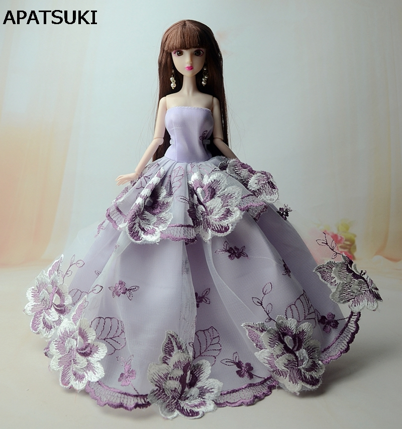 Purple Flower 2-Layers Doll Clothes Evening Gown Party Dresses For Barbie Doll Wedding Dress For Barbie Dollhouse Accessories(China)