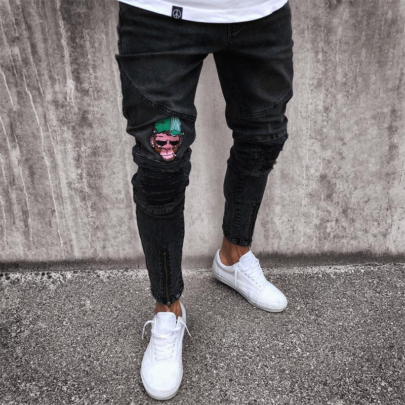 Mens Check Skinny Jean Ripped Denim Fashion Pant Stretch Distress Frayed Trouser