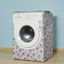Washing Machine Cover Purple Peony Silver Coating Oxford Cloth Home Sunscreen Washer Dryer Polyester Roller Dust Cover(China)