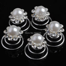 6Pcs Pearls Crystal Wedding Bridal Hair Pins Twists Coils Flower Swirl Spiral Hairpins Fashion Women Jewelry Accessories Gift(China)