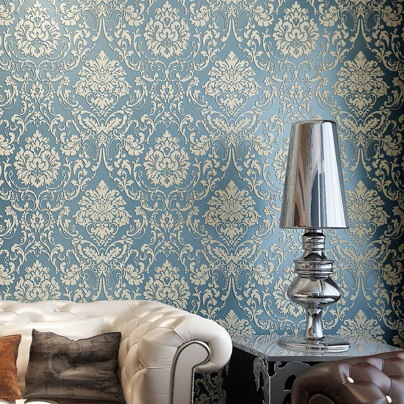 beibehang wallpaper for walls 3 d ,3D thick  wallpaper European-style Damascus living room bedroom TV background wallpaper<br>