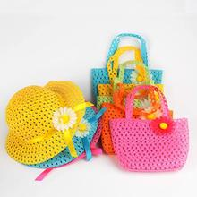 Summer Sun Hat Girls Kids Beach Hats Bags Flower Straw Hat Cap Tote Handbag Bag Suit 1-6Y(China)