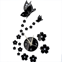 TFBC Crystal DIY 3D Mirror Living Room Butterfly Wall Clock