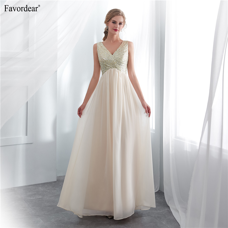 Favordear Real Photos V neck V Back Sequins Special Material Sequins Chiffon Prom Dress Sleeveless Pleat Fashion Prom Gowns
