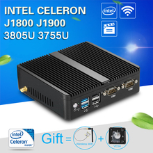 XCY Mini Computer Fanless Mini PC J1800 J1900 3805U 3755U 2 LAN 2 RS 232 Mini PC Windows 7 Mini computer office industrial PC