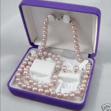 NATURAL 7-8MM PURPLE freshwater PEARL NECKLACE BRACELET EARRING SET