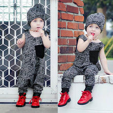 2016 New Fashion Baby Boys Cotton Jumpsuit Infant Sleeveless Newborn Romper Retail(China)