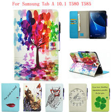 Fashion Case For Samsung Galaxy Tab A a6 10.1 2016 T580 T585 SM-T585 Case Cover Tablet Cartoon Print TPU+PU Leather Shell Funda(China)