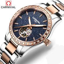 721a6432169 Carnaval de Luxo de Moda Mulheres Relógios Safira Estrela Mulher Relógio À  Prova D  Água Luminosa Relógio Mecânico Automático Re.