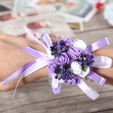 1Pc Wedding Bridal Bridesmaid Wrist Corsage Party Prom Dance Hand Ribbon Flower Decoration Hot