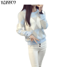 YiZiKKCO Brand Sweater Women Pullovers 2017 Autumn Winter Fashion O-Neck Candy Women Sweater Pull Femme Sweter Mujer WHD080(China)