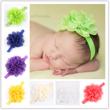 12pcs/lot  wholesaleNewborn Baby Girls Satin Ribbon Flower Headbands Photography Props Infant Baby Headband children Accessories