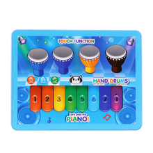 Mini Music Tablet Toy with Touch Screen Multifunctional Electric Piano Drum Pad Fun Playing Hamster Game Educational Toy(China)