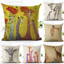 Nordic Giraffe Animal Cushion Covers Blue Yellow Cushion Cover Throw Pillows Cover for Home Decor Pillowcase almofadas 45x45cm