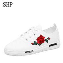 fashion Embroider brand platform sneakers women shoes chaussure femme sport shoes woman leather trainers white casual shoes 2017