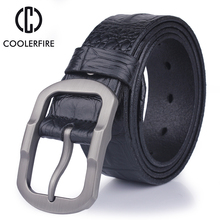 2017 fashion designer 100% men's Genuine Leather Crocodile skin belt male High quality buckle luxury brand brown belts for men(China)
