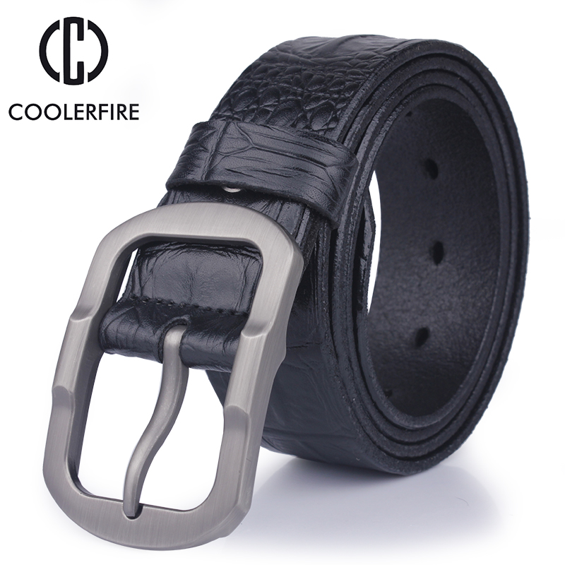 2017 fashion designer 100% men's Genuine Leather Crocodile skin belt male High quality buckle luxury brand brown belts for men(China (Mainland))