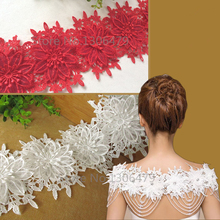 1-2YD Exquisite Water Soluble Lace Embroidery Embroidered Fabric Double Layer Three-dimensional Flowers Applique Laciness RS1053