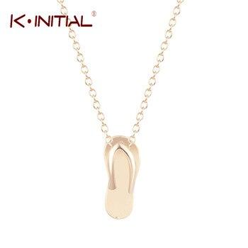 1Pcs Gold Silver Plated Gold Slipper FlipFlop Flower Pendants Necklace Cute Slipper Necklaces Women Fashion Accessories Dropship