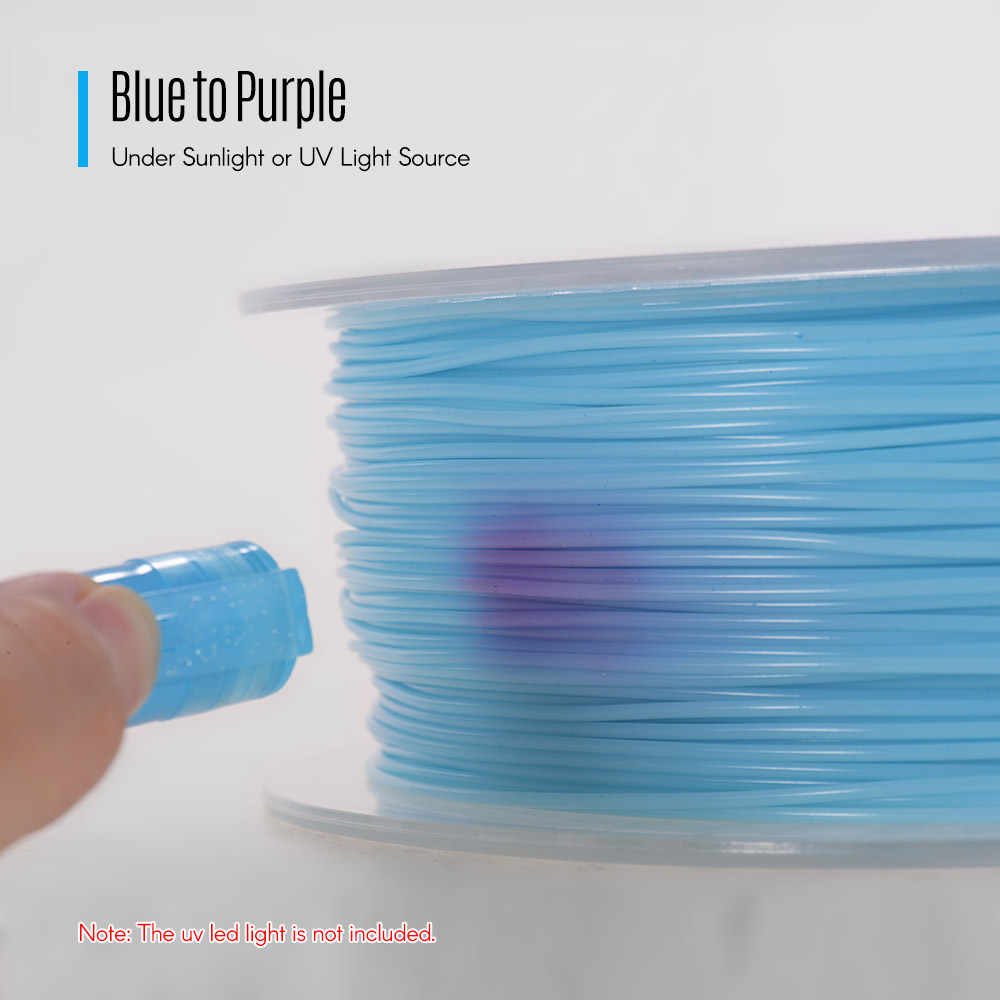 2.2LBS Dimensional Accuracy +//- 0.05mm Spool for 3D Printer and 3D Pen White to Blue 1KG TOPZEAL 3D Printer Filament PLA 1.75mm UV Light Change Color Series