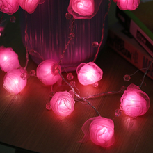 20Led Fairy Pink Rose Bead Operated String Lights 3m LED Decoration For Christmas Street Garlands New Year Wedding gerlyanda(China)