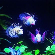 Tank Aquarium Decoration Accessories Silicone Fish Artificial Glow Swimming Lionfish Ornaments Flushing(China)