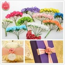 12pcs/lot Mini Cute Paper Rose Handmade Artificial Flower For Wedding Decoration DIY Garland Gift Scrapbooking Craft Fake Flower