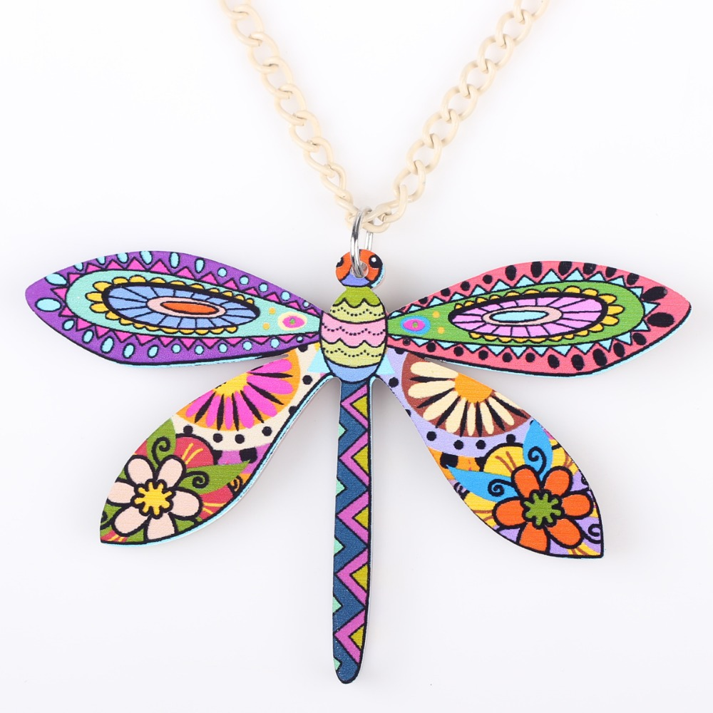 Bonsny Dragonfly Necklace Pendant Long Acrylic Pattern New Fashion Jewelry Women Girl Charm CollarAnimal Accessories