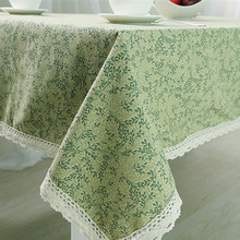 Table cloth Leaf lace Tablecloth bird printed Table cover Dining Mantel Green Table Cover Rectangle/Round/ pastoral home textile