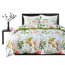 Floral Print Duvet Cover Set Bedding Set Bed linen Green Flower Bed Sheet 4pcs/set Pastoral Adult Soft Twin King Queen Size(China)