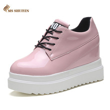 MS 2017 Spring Autumn women shoes Fashion platform wedge patent leather Casual shoes woman Black Pink high heels shoes ladies