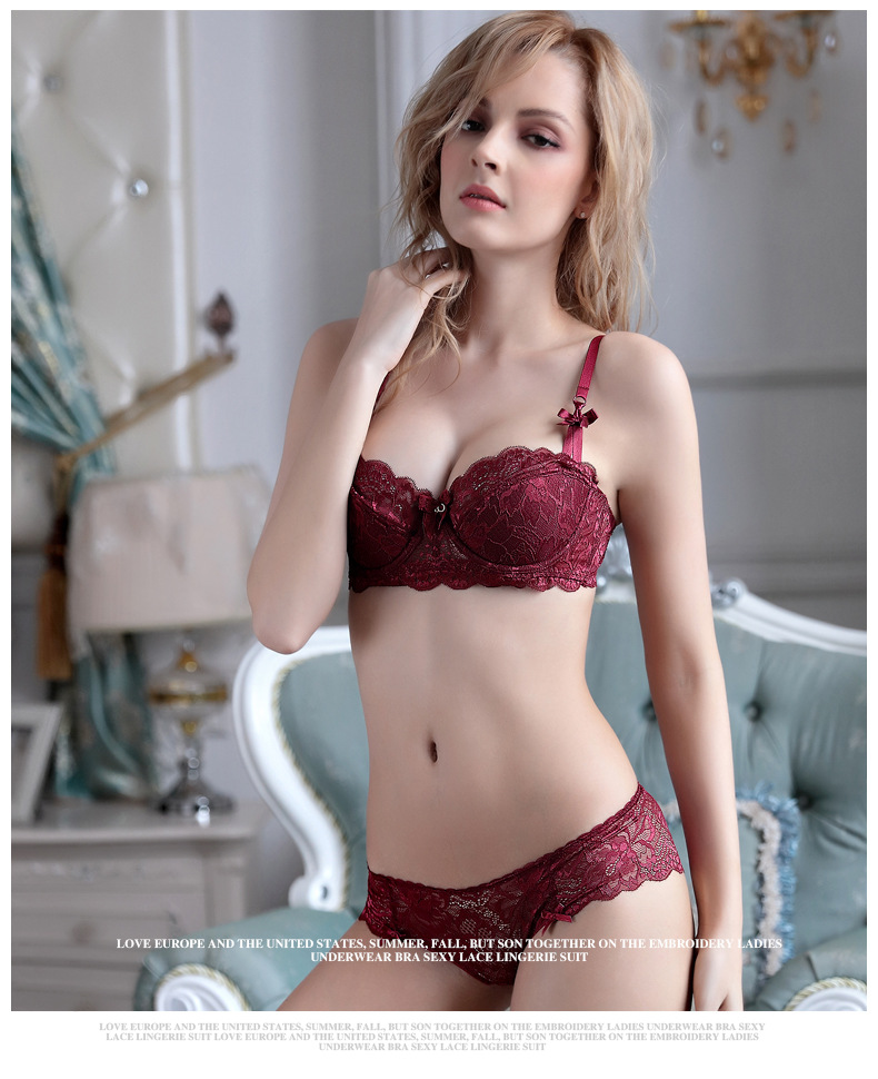 Woman Lace 1/2 Cup Bra Set Sexy Push up Lingerie Set Red Deep V Soft Cotton Thin Underwear Lady Brassiere Set