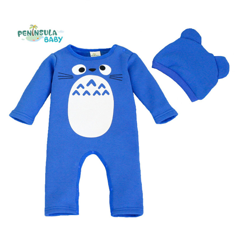 Newborn baby rompers Winter Thick Warm Totoro Baby Boy Clothes Set Jumpsuit Baby Girl Costume Cartoon Rompers+ Hat Suits<br><br>Aliexpress