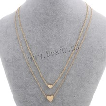New fashion pendants necklaces high quality Personalized gold Colour plated 2-strand love hearts necklace for women 16.5 Inch