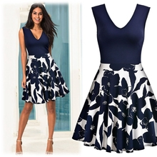 Buy Women Elegant Vintage Print Floral Tunic V Neck One Piece Dress Suit Patchwork Casual Party Work Fit Flare A-line Skater Dress for $17.87 in AliExpress store