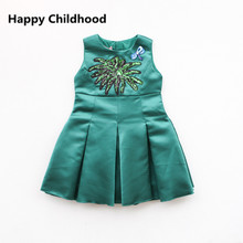 Kids Girls Boutique Dress Summer Fashion Brand Coconut Girls Clothes Sleeveless Princess Green Dress for Weddings Party Dress