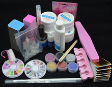 Professional Full Set UV Gel Kit Nail Art Set + 6 Powders Glues FILE BLOCKS Primer Tips tools free shipping
