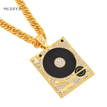 MCSAYS Hip Hop Jewelry Full Crystal DVD Player Pendant 30 inch Link Chain Iced Out Music Necklace Mens Fashion Accessories 4HP(China)