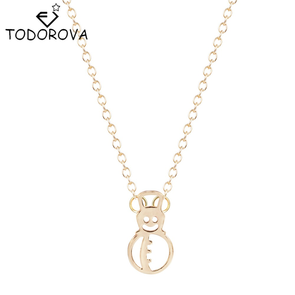Todorova Snowman Friendship Pendant Necklace Christmas Gifts for Women Best Friends Statement Jewelry Winter Vintage Accessories(China (Mainland))